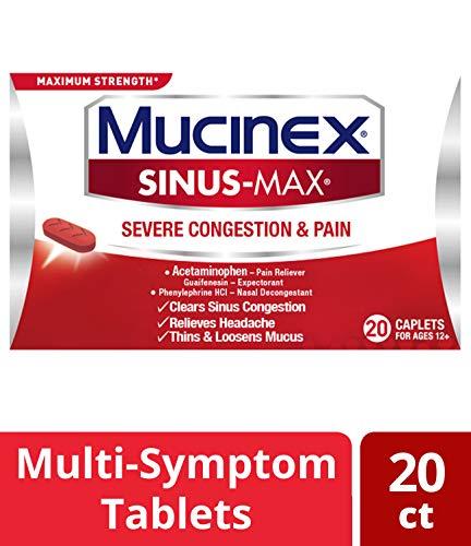 Mucinex Sinus-Max Severe Congestion & Pain Relief Maximum Strength Caplets- Sinus Decongestant, Headache Relief & Loosens Mucus, Expectorant w/ Acetaminophen, Phenylephrine & Guaifenesin, 20 Count