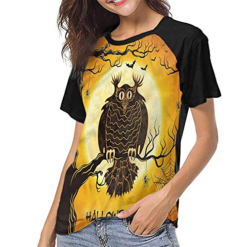 Tee Shirts,Halloween,Owl on Tree Spider Web S-XXL Tops for Lady -