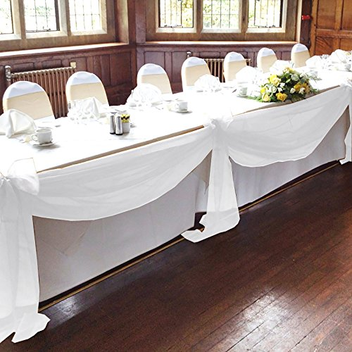 vLoveLife White 16.5ft Sheer Organza Top Table Swag Fabric Table Runner Chair Sash Wedding Car Party Stair Bow Valance Decorations