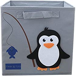 TATER & TOTS Lead and Phthalate Free Collapsible Fabric Cube Storage Bin for Boys and Girls (Penguin Fishing)