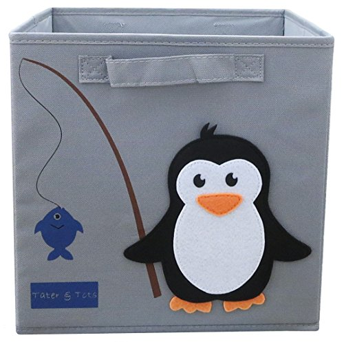 Tater & Tots Penguin Fishing Non Toxic Foldable/Collapsible Fabric Cube Storage Bin for Boys and Girls