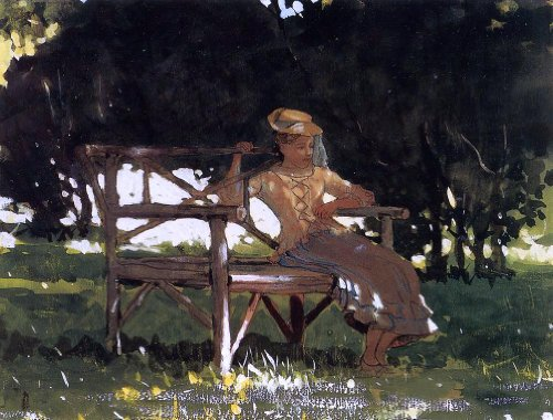 (Winslow Homer Woman on a Bench (also known as Girl on a Garden Seat) - 21.05