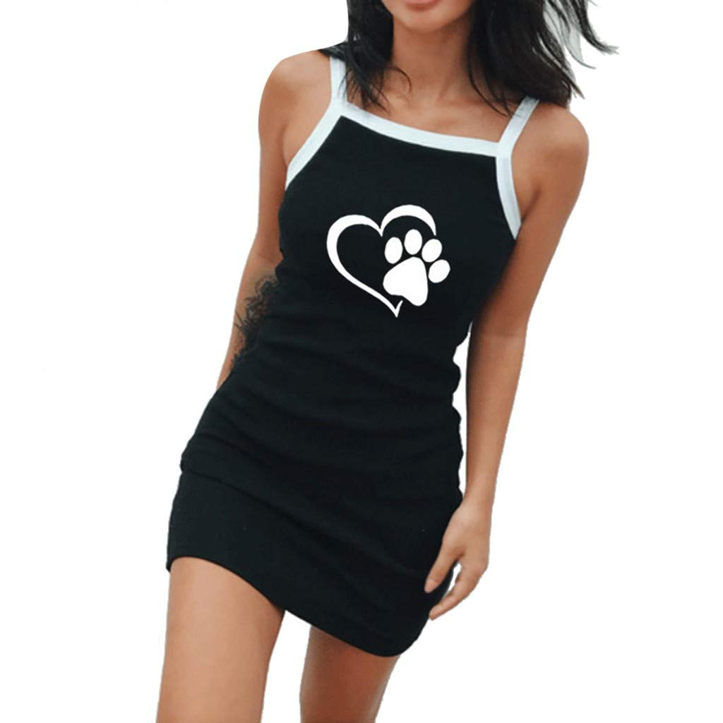 Beach Dress with Sleeves, Women's Casual Fashion Sexy Casual Vest Strap Mini Dress, Black, S