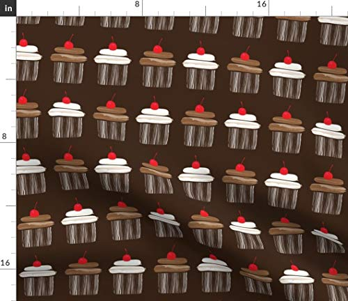 Chocolate Delight Fabric - Cupcake Party Kitchen Decor Chocolate Dessert Cupcake Cake Kawaii Kitchen Decor Print on Fabric by The Yard - Sport Lycra for Swimwear Performance Leggings Apparel Fashion