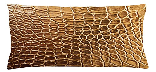 Lunarable Animal Print Throw Pillow Cushion Cover, Tint Golden Vivid Crocodile Skin Nature Life Toughness High-End Design Artwork, Decorative Square Accent Pillow Case, 36 X 16 Inches, Gold Brown