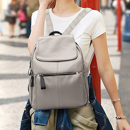 Hrph Women Fashion Leather School Travel Bag Backpack Mochila Waterproof for Teenager Girls Gris