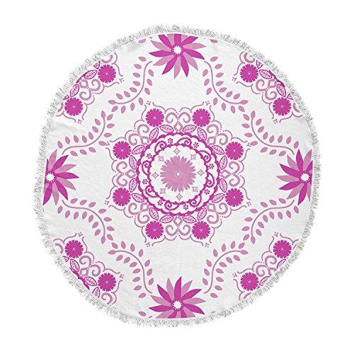 KESS InHouse Anneline Sophia Let's Dance Fuschia Pink Floral Round Beach Towel Blanket by Kess InHouse