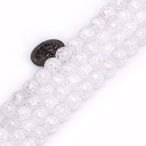 (8mm Crackle White Rock Crystal Quartz Beads Round Loose Gemstone Beads for Jewelry Making Strand 15 Inch)