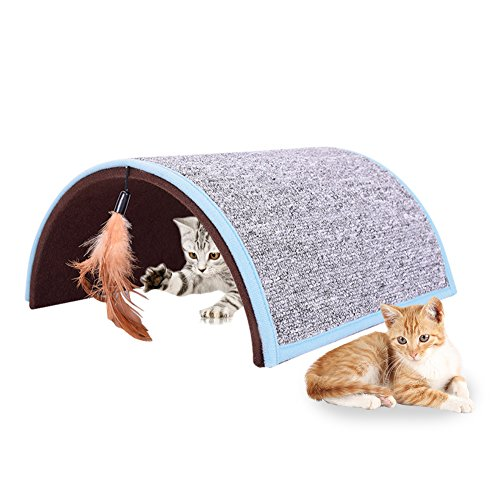Midsummer Carpet Arch Cat Scratch Board Pet Tunnel House Tent Cat Litter Beds Multifunctional Dog House and Pet Toys,Collapsible,Often used in homes, outdoors, courtyards, parks and during journey by Midsummer