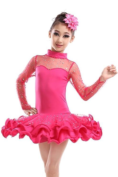 Amazon.com: KINDOYO Niñas Latino Vestido de Baile Tutú Infantil para Lentejuelas Latina Traje De LA Danza: Clothing