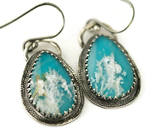 Plume Agate over Turquoise Earrings - Sterling Dangle Earrings (Turquoise Doublet)