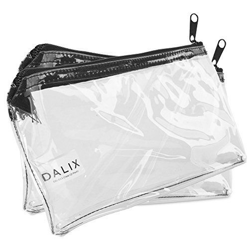 DALIX 2 PACK Zipper Makeup Bag Pencil Pouch Travel Accessories Holder Clear (Transparent Pouch)