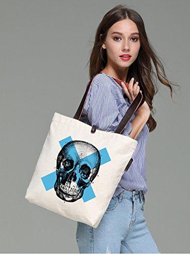 So'each Women's Cool Skull Sketch Graphic Canvas Handbag Tote Shoulder Bag
