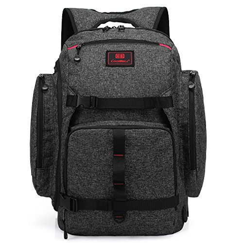 CoolBELL 17.3 Inch Laptop Backpack Multi-functional Travel Knapsack Skateboard Tied Function Backpack Outdoor Water-resistant Rucksack With USB Port Charging Port For Men/Women (Black)