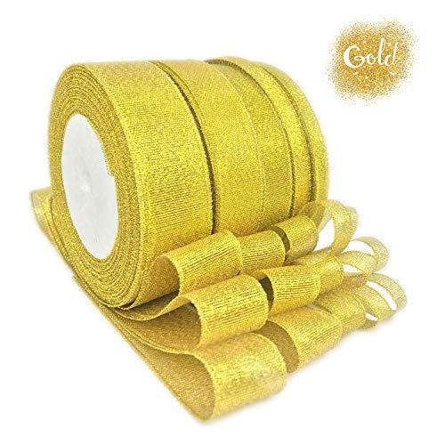 (JmYo Glitter Metallic Gold Ribbon, 0.24