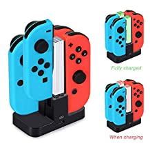 Diyife Controller Charger for Nintendo Switch Joy-Con Charging Dock Charging Station for Switch [Newest Version] 4 in 1 Charger Stand and Charging Holder with Individual LED Indicator