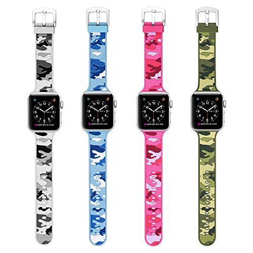 Camo Silicone - MITERV Compatible Apple Watch Band 42mm Soft Silicone Replacement Band for Apple Watch Series 3 Series 2 Series 1 (4 camo colors-42mm, for 42mm Apple Watch)