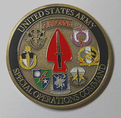 Sine Pari Army Special Operations Command Airborne Military Large Colorized Challenge Art Coin