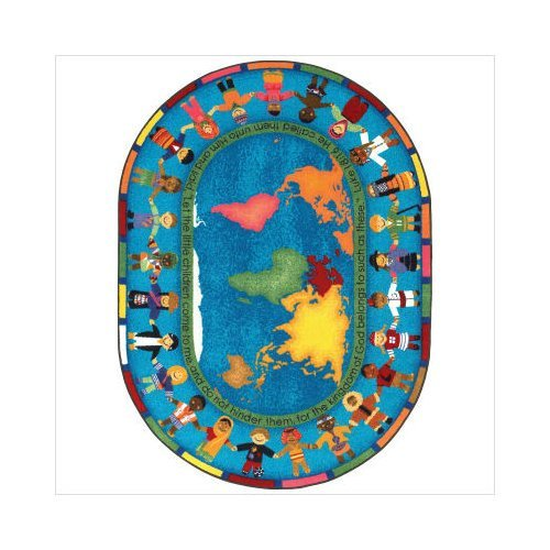 Faith Based Let the Children Come Kids Rug Rug Size: Oval 7'8'' x 10'9'' by Joy Carpets