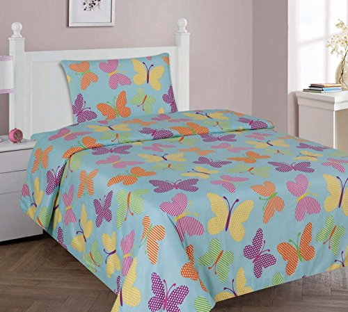 Kids printed sheet set: Flat & fitted sheets with pillow cases. Choose from butterfly, Dinosaur, Shark, Princess, sports, sailor prints Twin or Full (Twin, Turquoise)