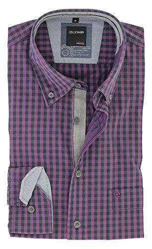 OLYMP Herren Casual Freizeithemd für Oktoberfest Langarm mit Button Down Kargen Comfort Stretch 100% Baumwolle Gr.M Lila Blau kariert