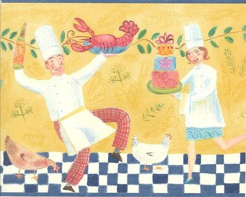 Wallpaper Border Dancing Chef Hens Spaghetti Lobster Cake Red Blue Yellow Green