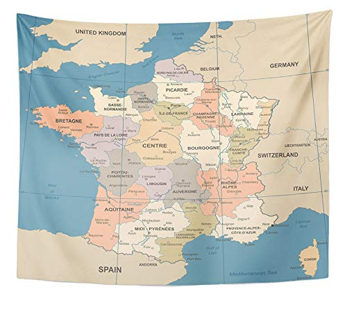Emvency Tapestry Artwork Wall Hanging Blue Alsace France Map Vintage Detailed Brown Aquitaine Bordeaux Bretagne Burgoyne 50x60 Inches Tapestries Mattress Tablecloth Curtain Home Decor Print -