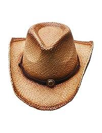 minakolife Men's & Women's Western Style Cowboy/Cowgirl Straw Hat
