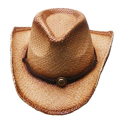 MINAKOLIFE Men's & Women's Western Style Cowboy/Cowgirl Straw Hat (Brown)