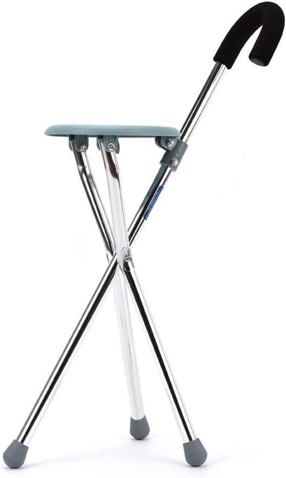 NYDZ Silla de Ruedas Andador Muletas para el Anciano Bastón de Cuatro Patas con bastón de Trekking de Seat Walker