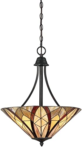 Quoizel TFVY2819VA Victory Tiffany Pendant Ceiling Lighting, 3-Light, 300 Watts, Valiant Bronze 24 H x 19 W