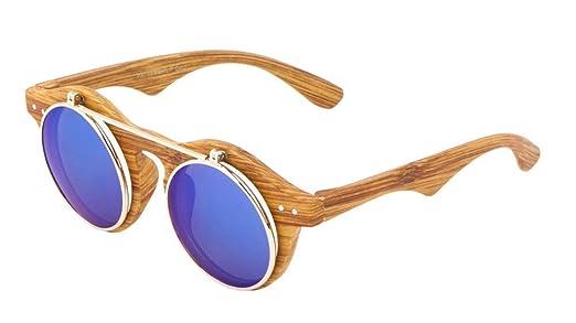 faux wood frame iridium mirror lenses flip up sunglasses wood frame blue iridium mirror - Wood Framed Sunglasses