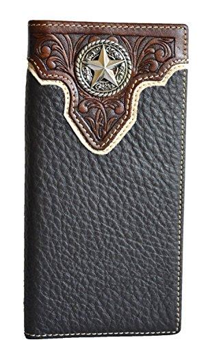 - Men brown cowboy genuine leather texas star concho bifold long wallet