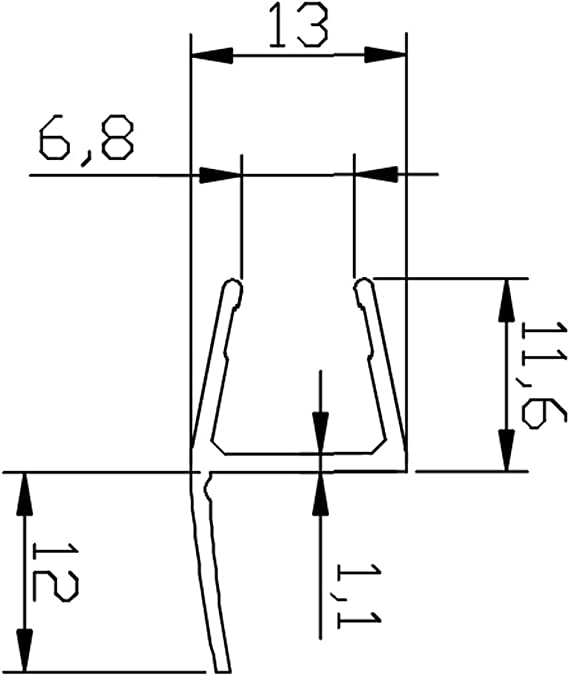 Perfil Junta pulsador 180 ° para mampara de ducha Espesor de vidrio 8 – 10 mm, longitud 2500 mm 8pt1 – 30: Amazon.es: Bricolaje y herramientas