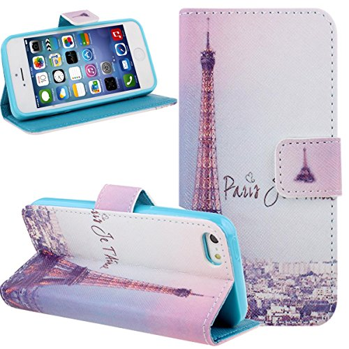 iPhone SE Case,iPhone 5S Case,NSSTAR Colorful Painted Drawing Luxury Fashion Purple Retro Pairs Eiffel Tower Pattern Wallet Pu Leather Flip Folio Stand Case Cover Pouch With Credit ID Card Holder Slots for Apple iPhone SE 2016 & iPhone 5S 5 (Sky Tower)