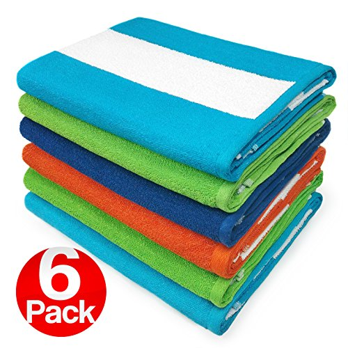 KAUFMAN - Cabana Terry Loop Beach & Pool Towel 6-Pack, used for sale  Delivered anywhere in USA