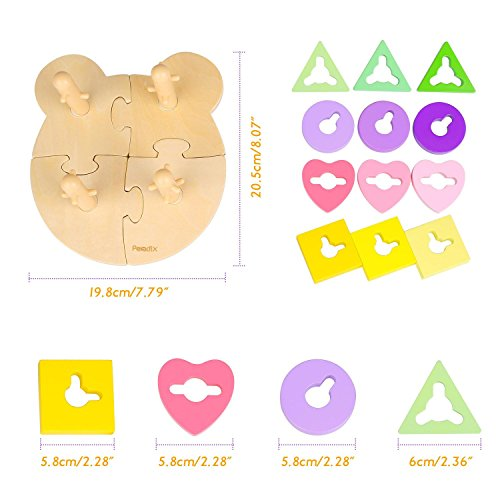 Peradix Wooden Puzzle Toddler Educational Toys Shapes Sorter Sorting Stacking Baby Toys Preschool Geometric Blocks Stacking Games Kids by Peradix (Image #4)