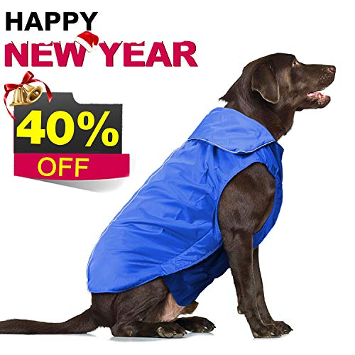 IREENUO Dog Jacket,Anti-Static Warm Plush Liner Nylon Waterproof Windproof Outer Layer Reflective Pet Dog Apparel Clothes Dog Climate Changer Fleece Vest(XS-Black)