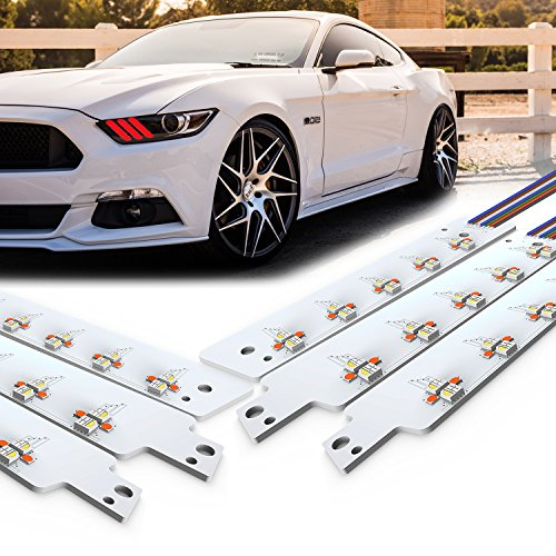 PROAUTO Multicolor DRL LED Boards for all 2015-2017 Ford Mustang LED Light Kit with RGB Function Place on Left and Right on Vehicle Fantastic LED Lighting LED Angel Eyes with 5050 LED Chip for Ford
