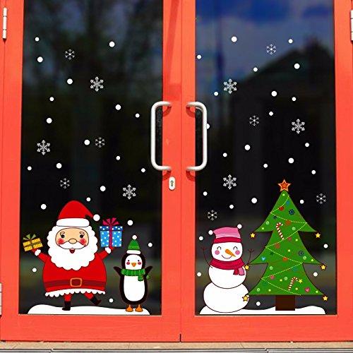 Santa Claus snowman door stickers hotel ktv holiday decorations glass window stickers scene layout wall stickers 70x50cm