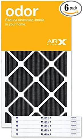 Made in the USA Box of 6 AIRx ODOR 14x25x1 MERV 8 Carbon Pleated Air Filter