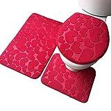 LAAT 3 pcs Bath Rug Bathroom Contour Rugs Shower Laundry Room Kitchen Carpet Bath Rug Carpet Rug Contour Cover in Absorbent Non-Slip Mat Toilet Set(Red)