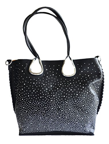 Pink Stitched Black Leather Tote - western rhinestone studs fashion whip stitched bling tote shoulder purse (Black)