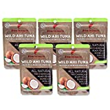 Itsumo Wild Ahi Tuna Fish in Extra Virgin Coconut Oil (5 Pack) - Premium Grade Yellowfin Tuna Fish Flake in Oil - Healthy & All Natural Ingredients - Paleo & Gluten Free Protein Snack