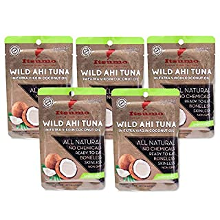 Tuna Keto Snack Pouch - No Carbs Wild Ahi Tuna in Coconut Oil (Pack of 5)