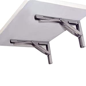 Folding Shelf Brackets - Heavy Duty Bench Table Folding Shelf or Bracket, Max. Load 550lbs ( long release handle), (Sold In Pairs)