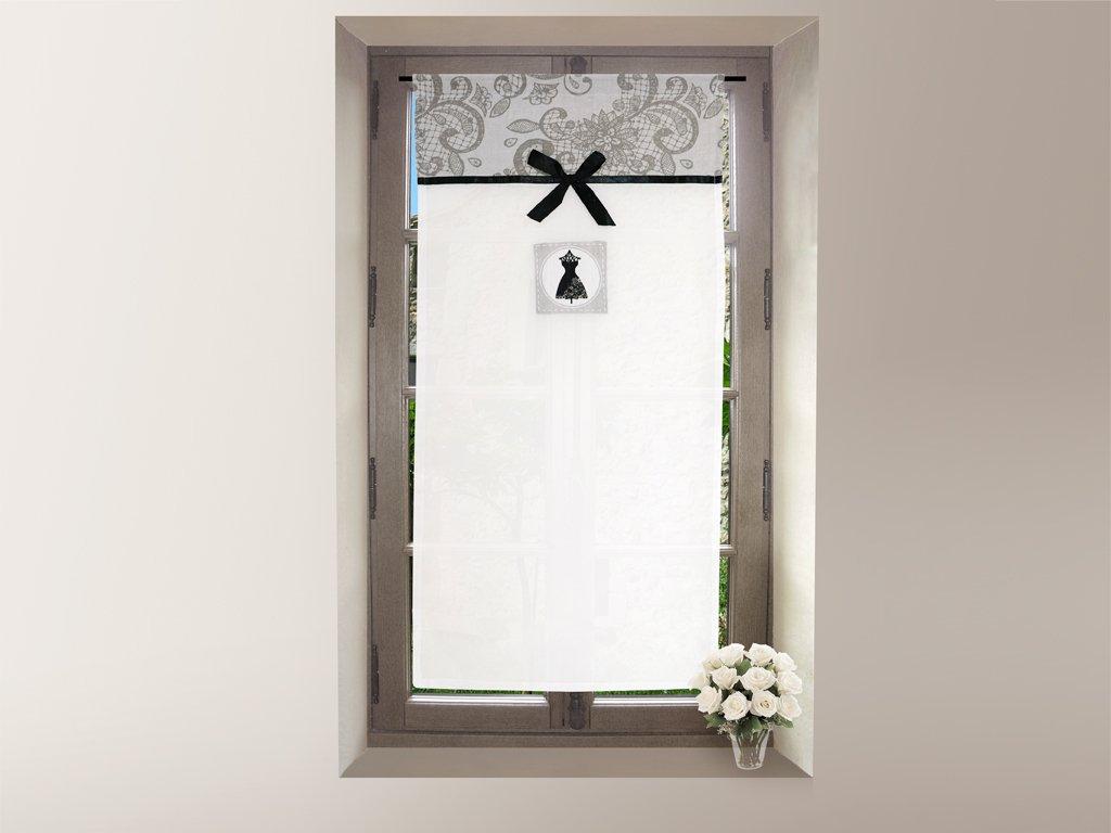 Tendina a vetro ricamata in cotone 45x90 cm BLACK DRESS, diSoleil d'Ocre diSoleil d' Ocre SELARTEX 042705