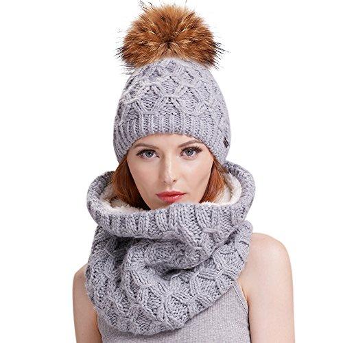Womens Winter Hat and Scarf Set for Girls Knitt...