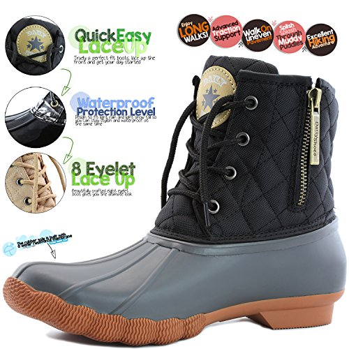 Black Boots Padded High Mud Quilted Snow Waterproof up Gray Duck DailyShoes Women's Booties Rubber Ankle Rain qwOCaSZ