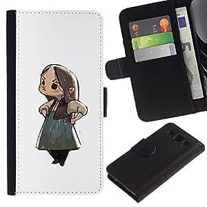 A-type (Chica Anime japonés de dibujos animados de Big Eyes Arte) Colorida Impresión Funda Cuero Monedero Caja Bolsa Cubierta Caja Piel Card Slots Para Samsung Galaxy S3 III i9300 i747